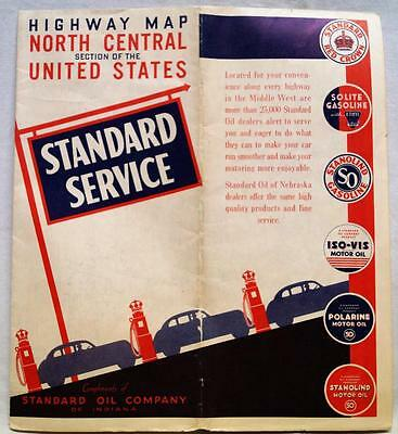 STANDARD OIL COMPANY NORTH CENTRAL UNITED STATES HIGHWAY ROAD MAP 1940s VINTAGE
