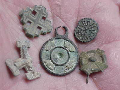 #415 Lot 5 Ancient Byzantine Knights Templar Cross Relics Inlaid Pendant Coin Pi