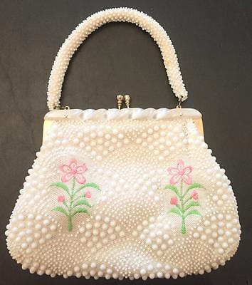 Vintage 1960s Woven Purse with Beading & Embroidery, Lucite Handle