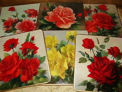 Win El Ware Coasters Large 6x6 Roses Cocktail Shabby Cottage Chic Vintage 60s