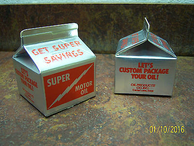 Vintage Super Motor Oil Milk Carton Piggy Bank Advertising Promo Gas Oil Iowa A