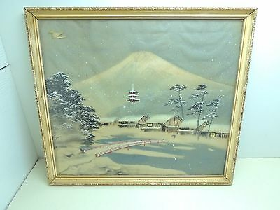Vintage Framed Japanese Silk Painting Art Signed Red Bridge Mountain Temple Snow