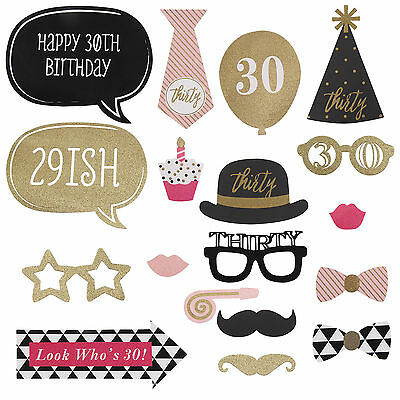 20pcs 30th Birthday Party Photo Booth Props Favour Moustache Photography Sticks