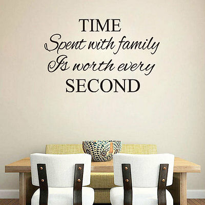 Time Spent With Family Quote Vinyl Wall Art Sticker Mural Decal Home DIY Clock