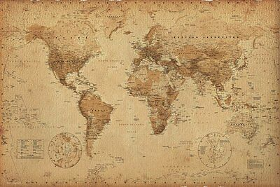 WORLD MAP POSTER Earth Globe Antique Vintage Old Print Wall Art Large Maxi