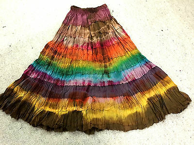 Lot of 5 cotton tie dye flared gypsy skirts.Part lined.Jagged hem.Fits many size