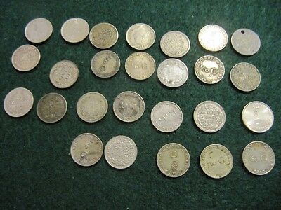 Netherlands& Colonies .640 Silver 10 Cents Coin Lot (26 Pieces) See Description