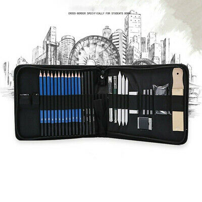32pcs Sketching and Drawing Pencils Set Graphite Charcoal Pencils Set Kit Bag AU