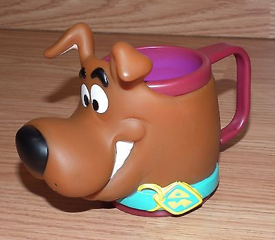 "1998 Scooby Doo 3"" Kid's Red Small Cup / Mug with Handle & Vinyl Scooby Head!"