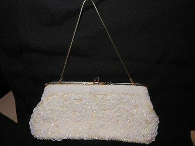 White Beaded Sequin Ivory Prom /Evening Purse