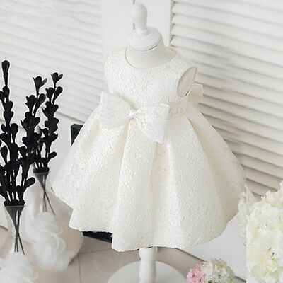 Kid Girl Bowknot Baby Princess Tutu Dress Party Wedding Christening Clothes 0-5Y