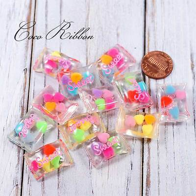 25mm 12pc Mix Fake Pastel Transparent Clear Jelly Candy Flatback Cabochon H10