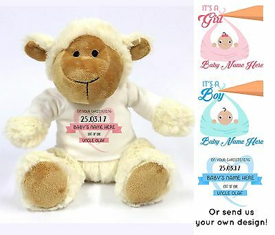 Personalised Name Christening Gift Lamb Teddy Bear Soft Toy New Baby Boy Girl