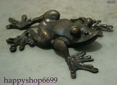 "8"" Lucky Chinese Collect Pure Bronze Wealth Hoptoad Toad Animal Statue Sculpture"