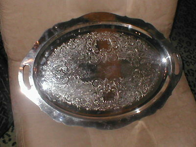 Vintage Silverplate Large Oval Footed Serving Tray by POOLE