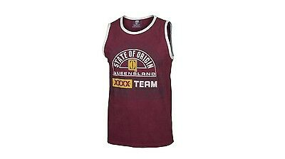 QLD State Of Origin 2015 Mens Singlet in Cotton with Comfortable  - Large