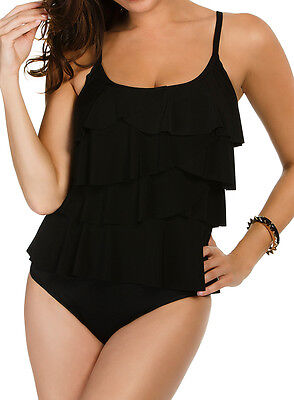 aedfc430f825b NWT MSRP $110 - MIRACLESUIT Tiering Up Tankini (Top Only), Solid Black,