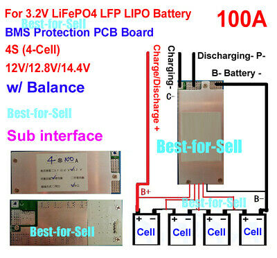 12V 14.8V 4S 100A BMS PCB PCM for LiFePO4 18650 26650 LFP Battery with BALANCE