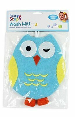 Baby Novelty Wash Mitt Owl Design / Bath Time (Green)