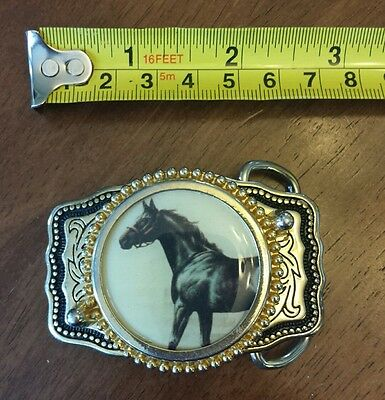 Collectible Brass Belt BUCKLE with Black Horse USA Small or Child