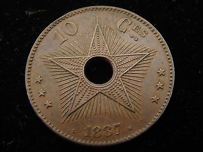 1887 CONGO CENTIMES - 10 Centimes KM #4 - FREE STATE - Key Date - Low Mintage