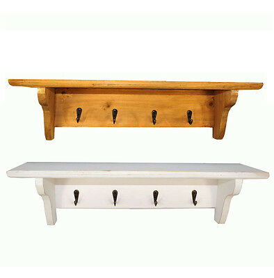 Mounted Wall Shelf with 4 Key Hooks White/Wood Vintage Storage Unit 50x13x12cm
