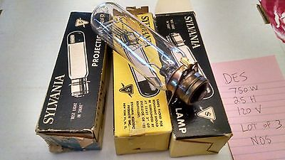 Lot of 3 Sylvania DES Projector Lamp Bulbs  120v 750w 25 Hour Vintage Projection