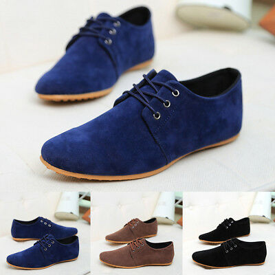 Mens Leather Suede Casual Shoes Lace Up Trainers Plimsolls UK SIZE 6 7 8 9 10 11