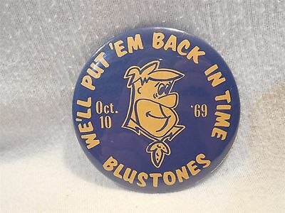 "Flintstones 1969 Blustones Homecoming 3 1/2"" Metal Pin-Back Button Fred"
