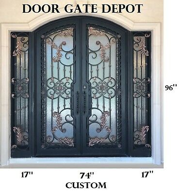 WROUGHT IRON FRONT ENTRY DOORS WITH TEMPERED GLASS, Custom iron door 108''x 96''