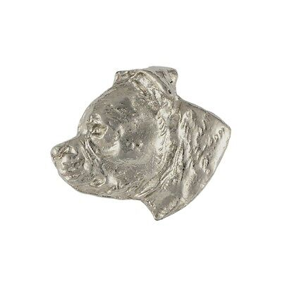 Staffordshire Bull Terrier, silver covered pin, high qauality Art Dog CA