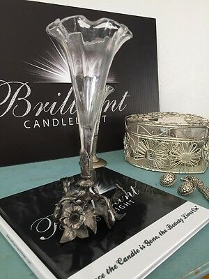 Beautiful Figural Silver/Glass Vase / Epergne