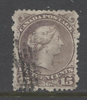 Canada #29v 15c Grey Purple 1874 Large Queen Issue Duckworth Paper 6 F-68 Used