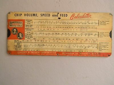 Kearney & Trecker Corp.  Cutting  Slide Chart - 1952