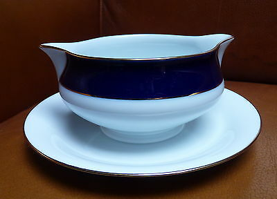 SAUICIERE PORCELAINE DE LIMOGES Bleu de Four Filet OR Pavillon HAVILAND