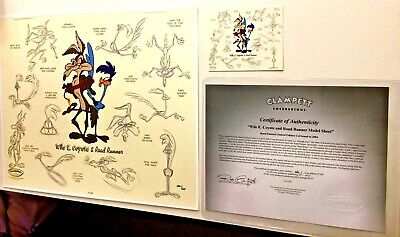 Warner Brothers Road Runner Wile E Coyote Cel Model Sheet Rare Number 1 HC Cell