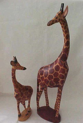 Two HAND Carved Wood Giraffes ADULT & CALF HAND MADE IN KENYA