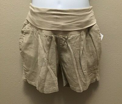 Old Navy S M L  Shorts Maternity Khaki Linen Blend Nwt