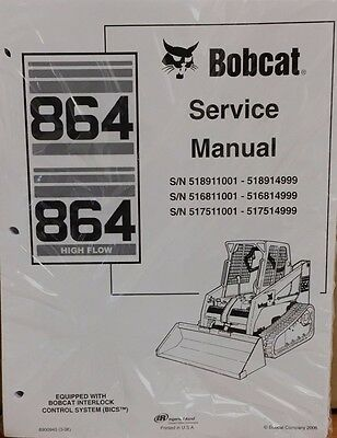 Bobcat 864 Compact Track Loader SET SERVICE PARTS OPERATION NEW MANUAL SHOP