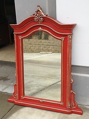 Huge Vtg/antique Red Painted Wood French Baroque Mirror W/gold