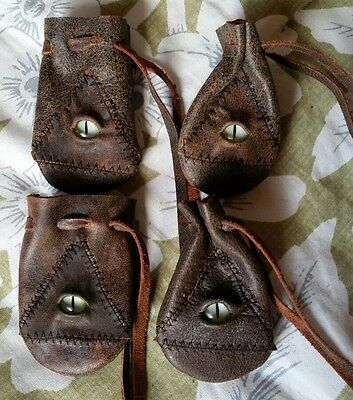 Tiny Brown Leather drawstring bag coin dice Pouch medieval Stitched Eye