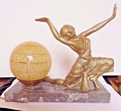 Unique/Rare NICE Art Deco French Lady Table Lamp Gold Glass Globe Stamped France