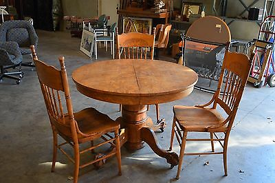 Antique Oak Table & Three Chairs