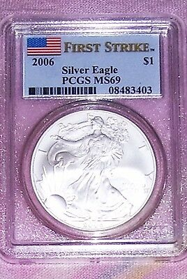 2006 First Strike Silver Eagle Pcgs Flag Label