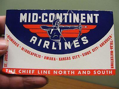 vintage mid-continent airlines advertising blotter