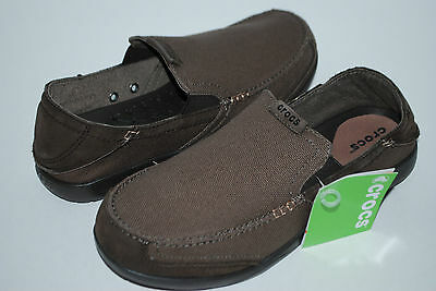 NEW NWT CROCS WALU CANVAS ESPRESSO BROWN 11 men boat shoes loafers