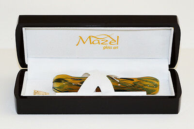 Magnificent Glass Art Hand Blown Mezuzah-In Laquered Wood Gift Presintation Box
