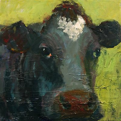 ELLE RAINES 12 x 12 COW PAINTING ABSTRACT ANIMAL MODERN IMPRESSIONISM NR