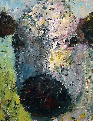 ELLE RAINES 11 x 14 COW PAINTING ABSTRACT LANDSCAPE MODERN IMPRESSIONISM NR