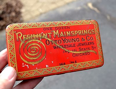 RESILIENT MAINSPRINGS TIN with contents -Victorian Era - Otto Young & Co Chicago